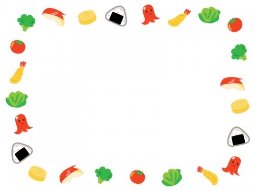 お弁当のおかずの囲みフレーム飾り枠イラスト