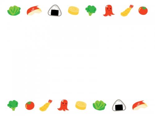 お弁当のおかずの上下フレーム飾り枠イラスト
