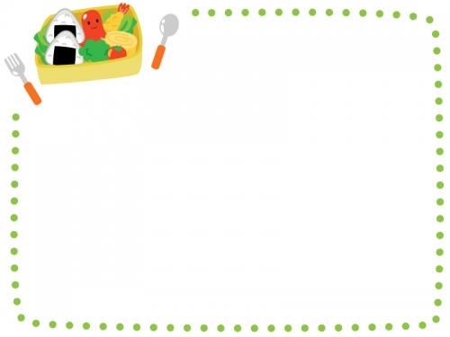 お弁当箱の黄緑色点線フレーム飾り枠イラスト