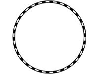 線路の白黒円形フレーム飾り枠イラスト