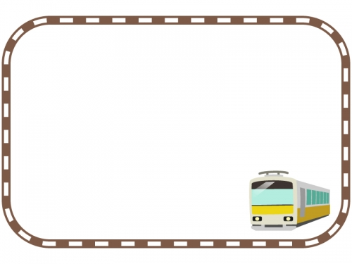 電車と茶色い線路の四角フレーム飾り枠イラスト