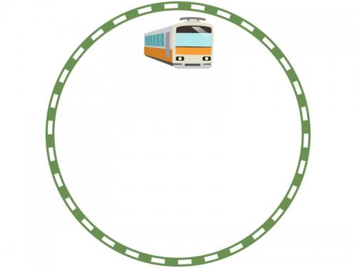 電車と緑色の線路の円形フレーム飾り枠イラスト