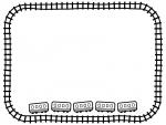下に並んだ電車と線路の白黒フレーム飾り枠イラスト