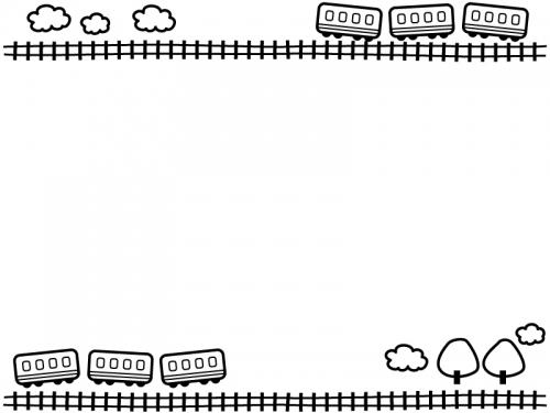 電車と線路と雲の上下白黒フレーム飾り枠イラスト