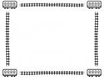 四隅の電車と線路の白黒フレーム飾り枠イラスト