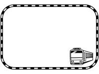 電車と線路の白黒四角フレーム飾り枠イラスト