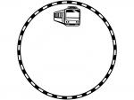 電車と線路の白黒円形フレーム飾り枠イラスト