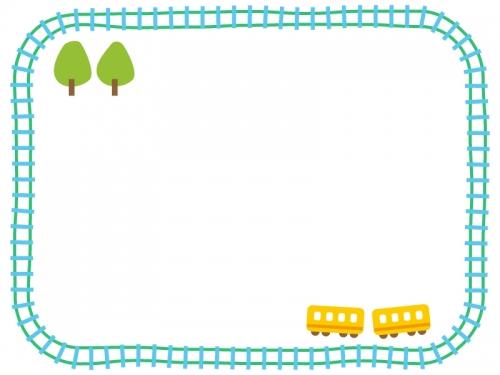黄色い電車と線路のフレーム飾り枠イラスト