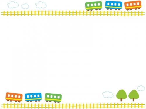 電車と線路と雲の上下フレーム飾り枠イラスト