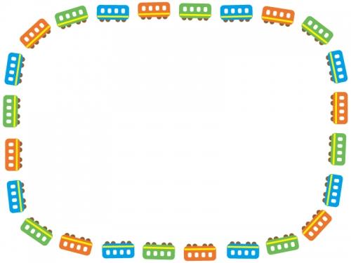 カラフルな電車の囲みフレーム飾り枠イラスト