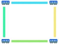 四隅の青い電車のフレーム飾り枠イラスト