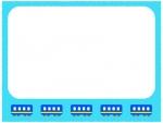 青い電車の水色フレーム飾り枠イラスト