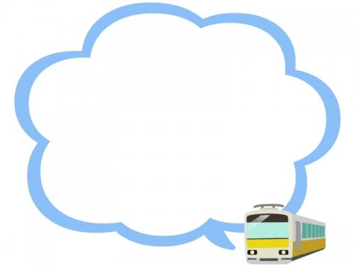 電車の青色もこもこ吹き出しフレーム飾り枠イラスト