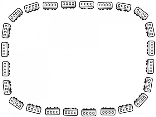 白黒の電車の囲みフレーム飾り枠イラスト