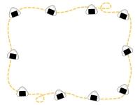 おにぎりと黄色い点線のフレーム飾り枠イラスト