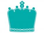 白線の王冠のフレーム飾り枠イラスト
