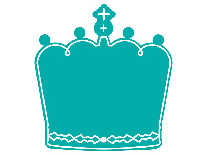 白線の王冠のフレーム飾り枠イラスト 無料イラスト かわいいフリー素材集 フレームぽけっと