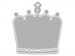 モノクロ(白黒)の王冠のフレーム飾り枠イラスト
