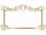 エレガントなゴールドのフレーム飾り枠イラスト03