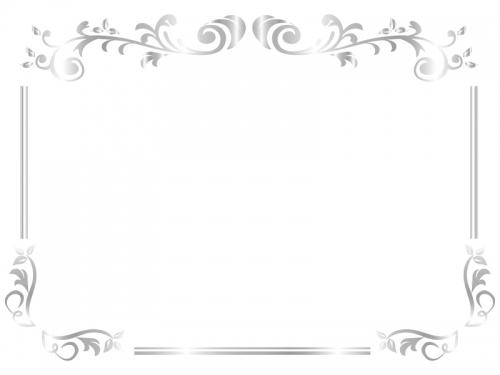 エレガントなシルバーのフレーム飾り枠イラスト