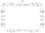 エレガントなシルバーのフレーム飾り枠イラスト02