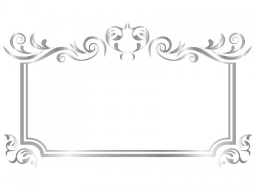 エレガントなシルバーのフレーム飾り枠イラスト03
