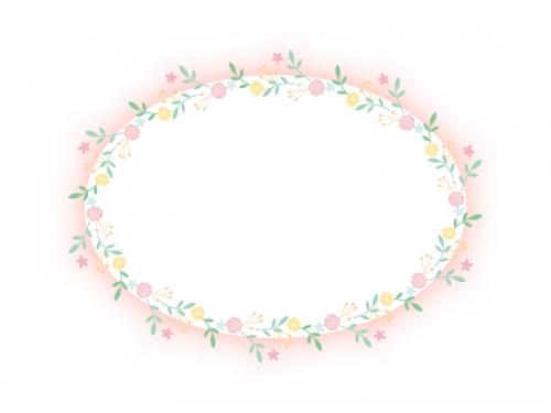 フェミニンな花のフレーム飾り枠イラスト