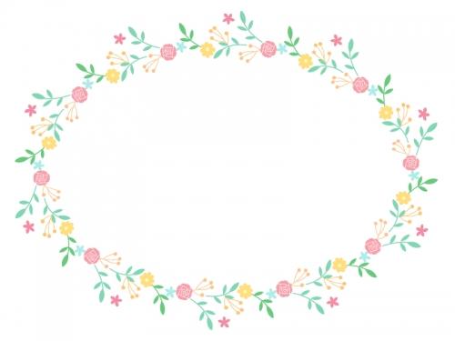 フェミニンな花のフレーム飾り枠イラスト02 無料イラスト かわいい
