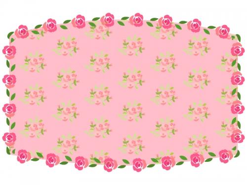 バラの花畑風のフレーム飾り枠イラスト