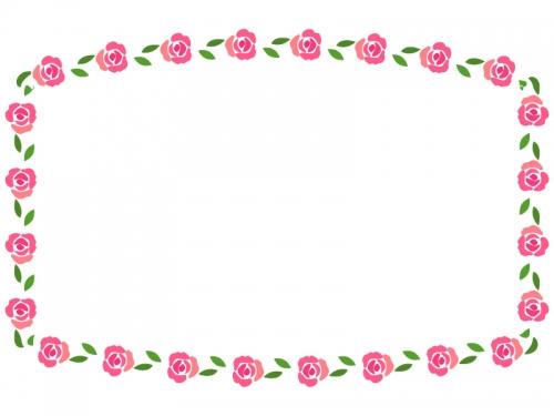 バラ(薔薇)の花のフレーム飾り枠イラスト