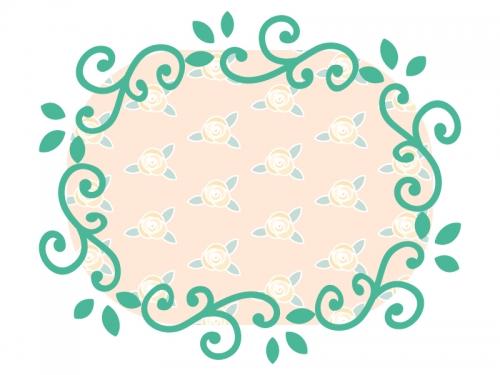 くるくるした蔦と花のフレーム飾り枠イラスト