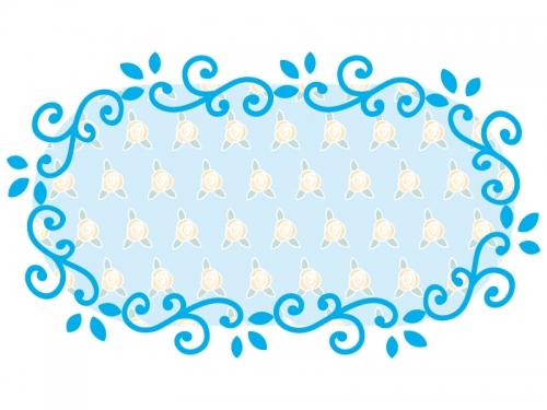 くるくるした蔦と花の横長フレーム飾り枠イラスト