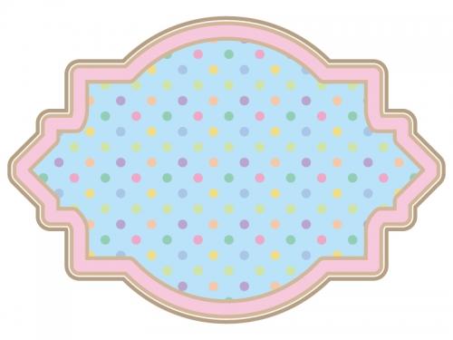 カラフルな水玉模様のラベル風飾り枠フレームイラスト
