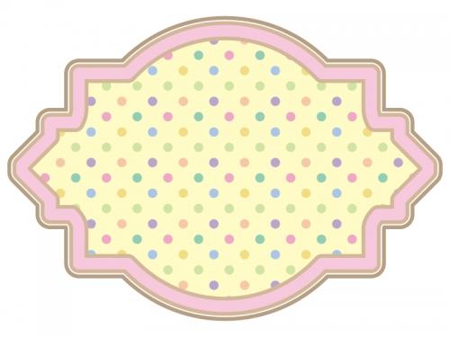 カラフルな水玉模様のラベル風飾り枠フレームイラスト02