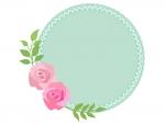 バラ(薔薇)の丸型フレーム飾り枠イラスト