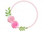 バラ(薔薇)の丸型フレーム飾り枠イラスト02