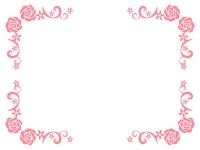 ピンク色のバラ(薔薇)のフレーム飾り枠イラスト
