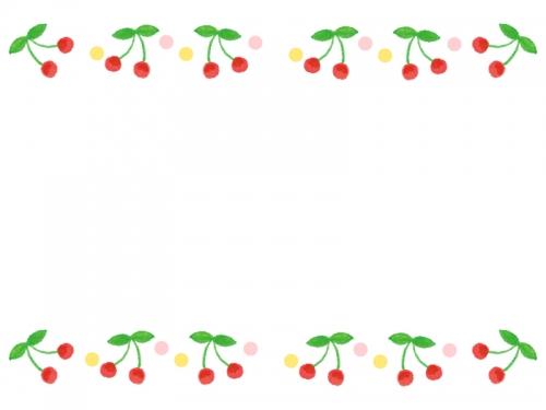 さくらんぼの上下フレーム飾り枠イラスト