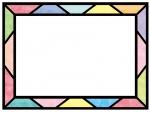 ステンドグラス風のフレーム飾り枠イラスト