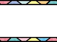 ステンドグラス風の上下フレーム飾り枠イラスト