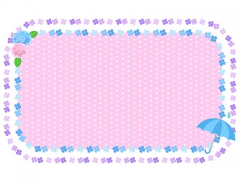 紫陽花と傘と水玉模様のフレーム飾り枠イラスト