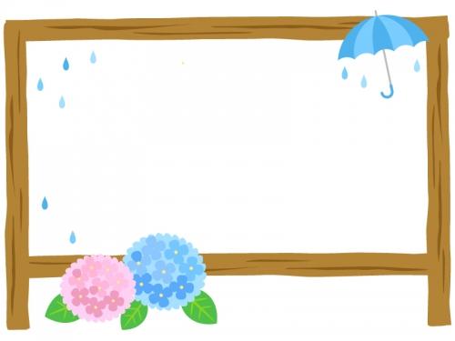 紫陽花と傘と看板のフレーム飾り枠イラスト