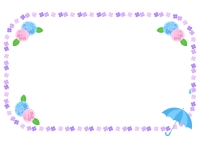 紫陽花と傘のフレーム飾り枠イラスト