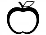 りんごの形(白黒)のフレーム飾り枠イラスト