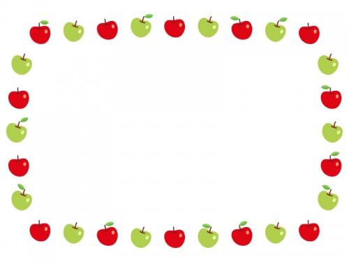 赤りんごと青りんごの囲みフレーム飾り枠イラスト