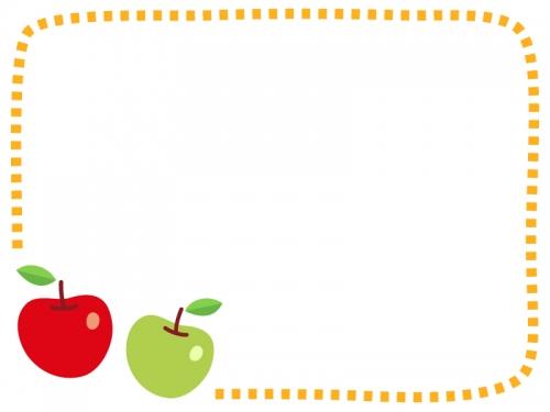 赤りんごと青りんごの点線フレーム飾り枠イラスト