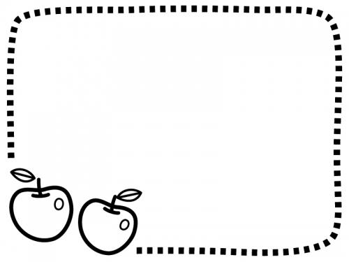 2つのりんごの白黒点線フレーム飾り枠イラスト