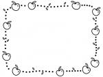 りんごと葉っぱの白黒点線囲みフレーム飾り枠イラスト