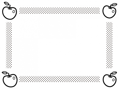 四隅のりんごとドットの白黒囲みフレーム飾り枠イラスト