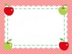 四隅のりんごの水玉赤色フレーム飾り枠イラスト